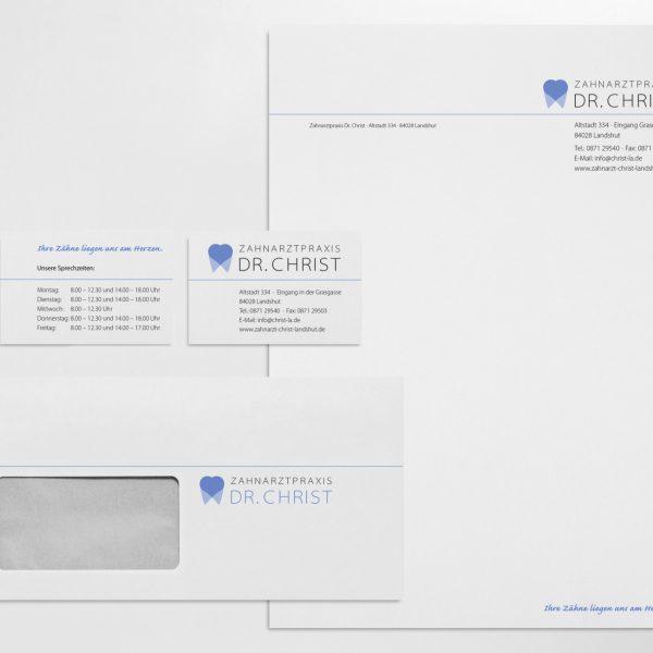 Geschäftsausstattung (Visitenkarten, Kuvert, Briefbogen) Praxis Christ, Landshut