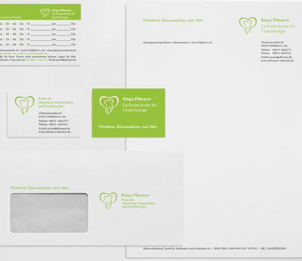 Geschäftsausstattung (Briefbogen, Visitenkarten, Kuverts) Praxis Pilmayer