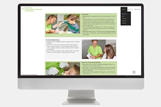 Website Praxis Pilmayer – Darstellung am Desktop