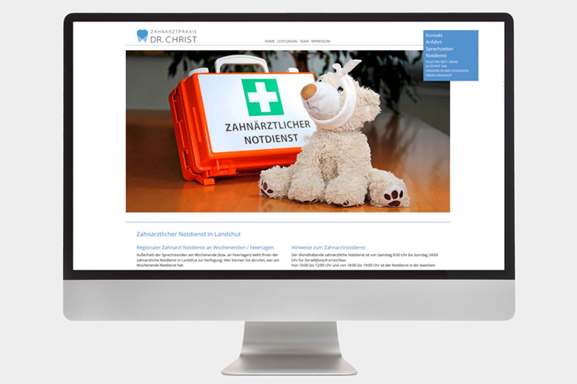 Website Zahnarztpraxis Christ