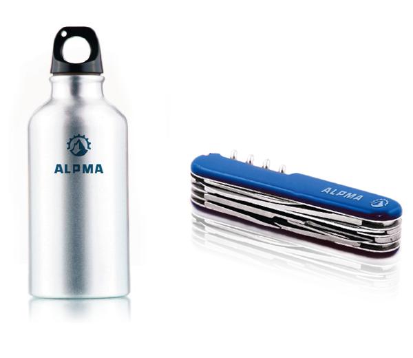 Werbemittel mit ALPMA-Logo (Flasche und Messer)