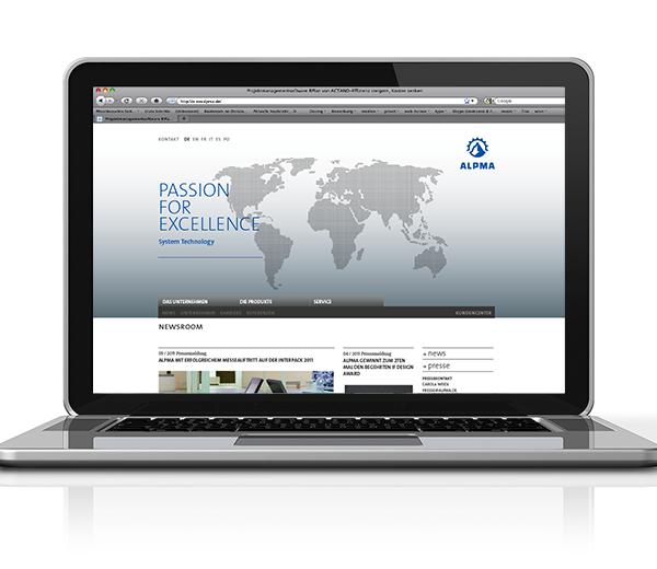 Darstellung der Website auf Notebook-Bildschirm